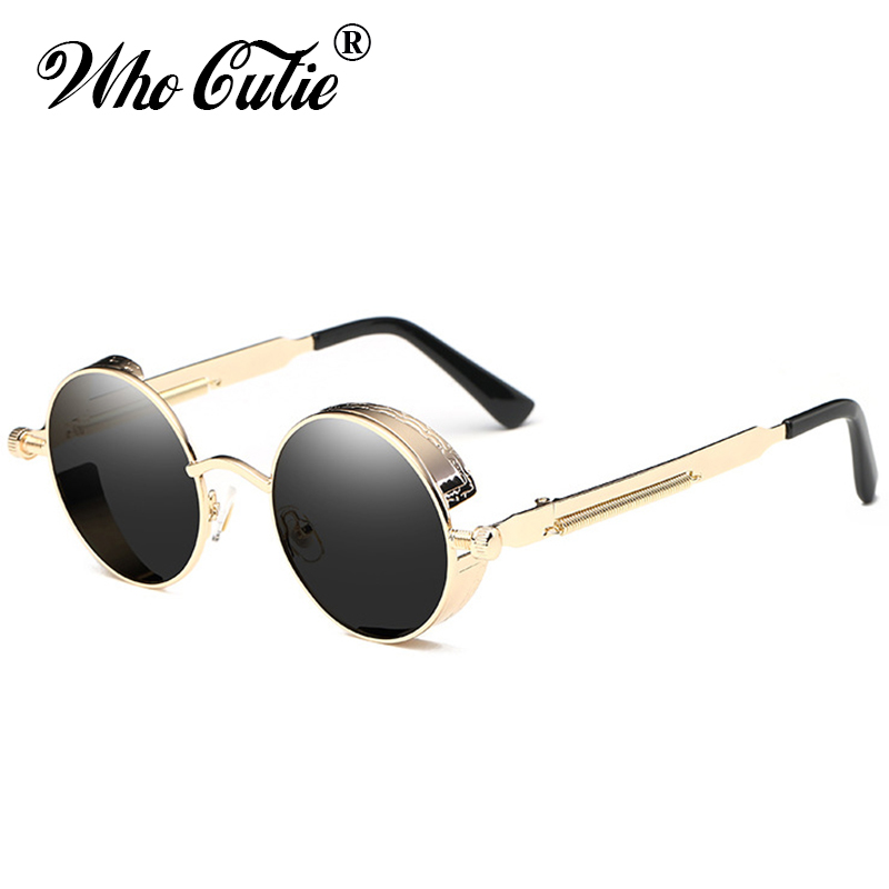 WHO CUTIE 2018 Round Shades Gothic Steampunk Sunglasses Men Women Brand Designer Rose Gold Pink Mirror Punk Male Sun Glasses 418