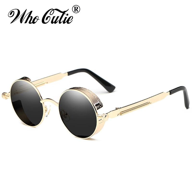 WHO CUTIE 2018 Round Shades Gothic Steampunk Sunglasses Men Women Brand Designer Rose Gold Pink Mirror Punk Male Sun Glasses 418