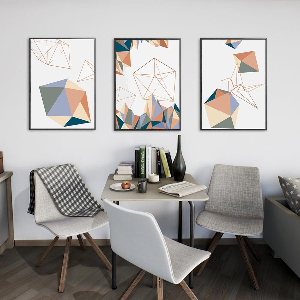 3Pcs/Lot Colorful Solid Geometry Sketch Painting Modern Home Decoration Wall Art Canvas Picture Print Posters for Room No Frame