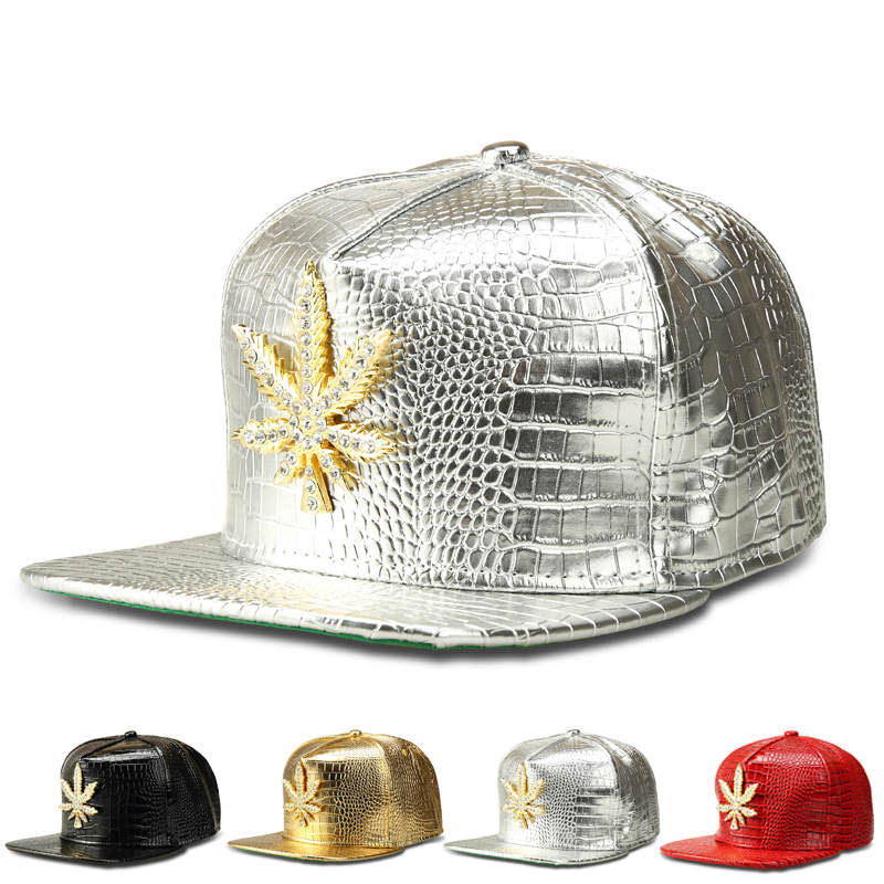New-Fashion-PU-Mens-Hip-Hop-Weed-Baseball-Caps-Casual-Unisex-Outdoor-Hats-Gold-Silver-Red