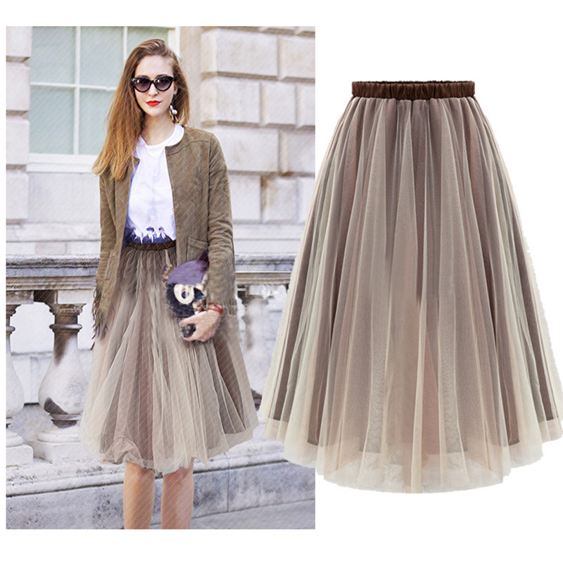 Free Shipping New 2016 Tulle Midi Skirts Women Fasion Brown Skirt Saias Femininas Formal Faldas