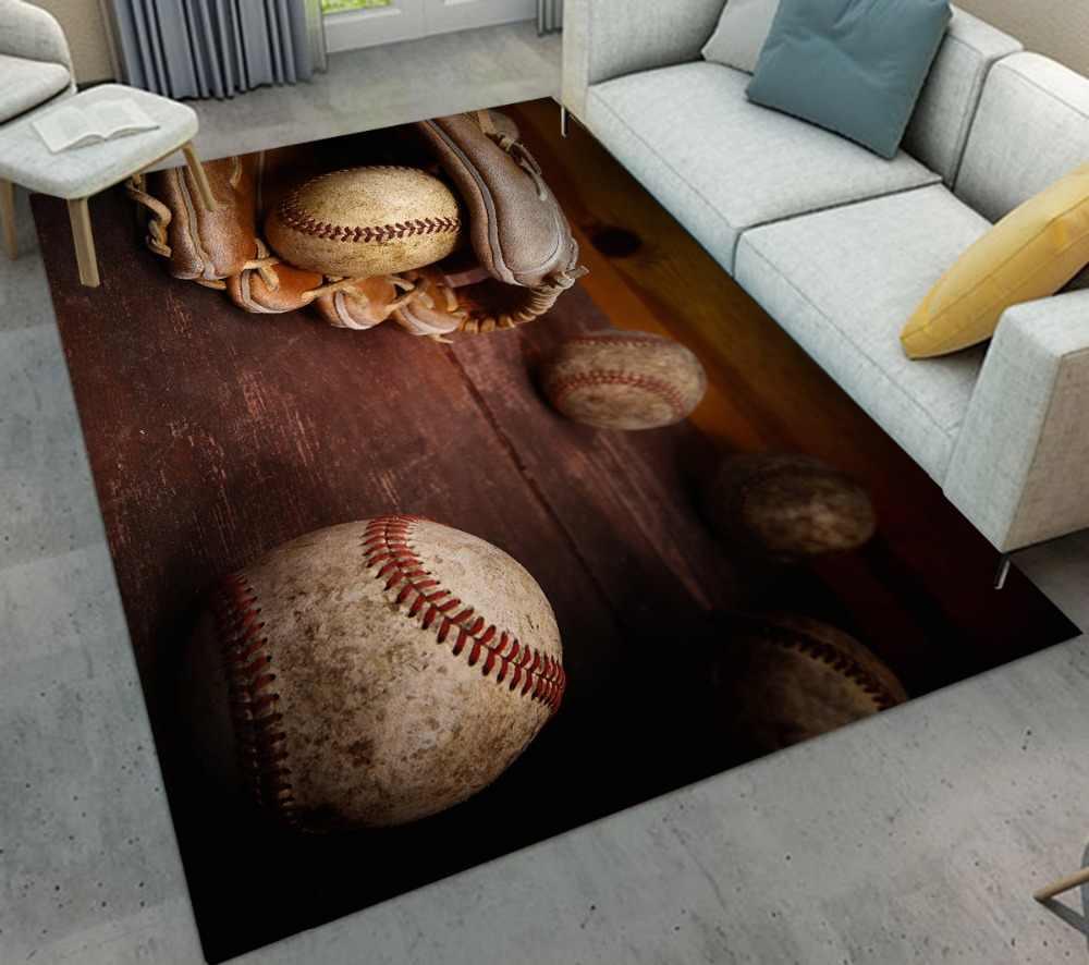 สีน้ำตาล Board ถุงมือเบสบอลรูปแบบในร่มเด็กพรมห้องนั่งเล่นเบาะชั้นห้องครัวพรมห้องน้ำลื่น mat