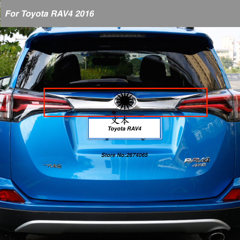Rear Trunk Protector Tail Door Logo Lid Cover trim For 2016 2017 Toyota RAV4 ABS chrome stickers Car Accessories jameo auto car stainless steel rear trunk trim tail door stickers for renault koleos for samsung qm6 2017 2018 accessories