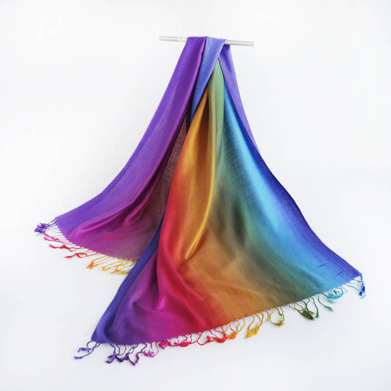 borla larga del arco iris gradiente de colores de la bufanda de pashmina mantones jacquard de