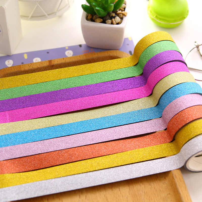 Lote de 50 unidades de cintas decorativas brillantes washi de papel dorado de 1,5 cm x 2,5 m, pegatinas para escuela, regalos para niños, papelería EJ923
