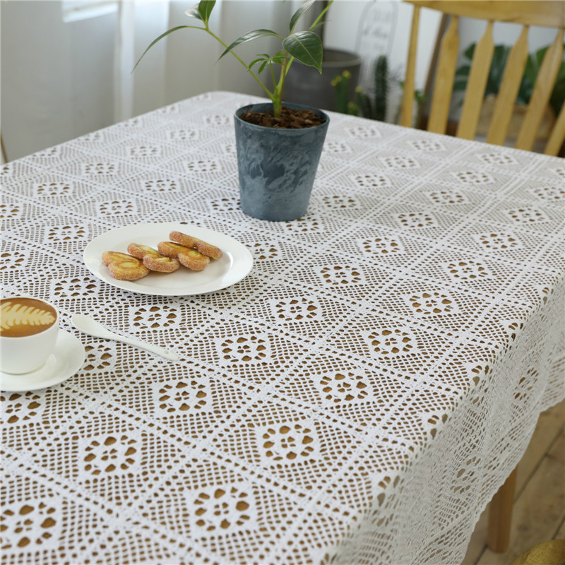 White Lace Tablecloth White Crochet Hollow Handmade Cotton Lace Table Topper Table Covers Home Party Wedding Table Decoration image