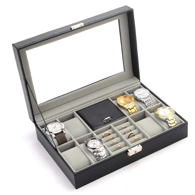 High Quality Multifunction Leather Watch Box Ring Earring ...