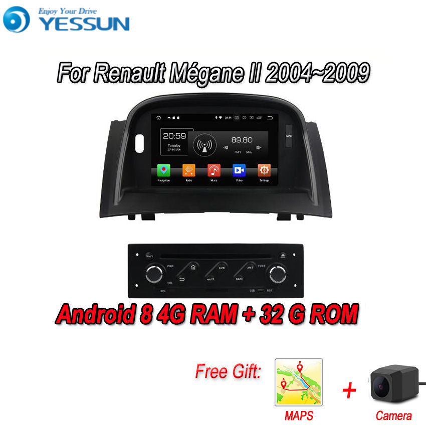 YESSUN Android 8.0 4G RAM For Renault <font><b>Megane</b></font> <font><b>2</b></font> Car Navigation <font><b>GPS</b></font> Multimedia Player mirror link Separate Radio Touch Screen <font><b>DVD</b></font> image