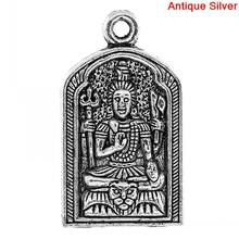 DoreenBeads Charm Pendants Buddha Amulet Antique Silver 3.1x1.8cm,10PCs(China)