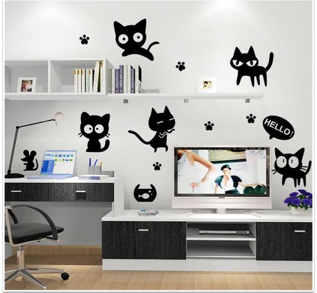 1pc cute cartoon black cat wall decal for kids room home decor korea