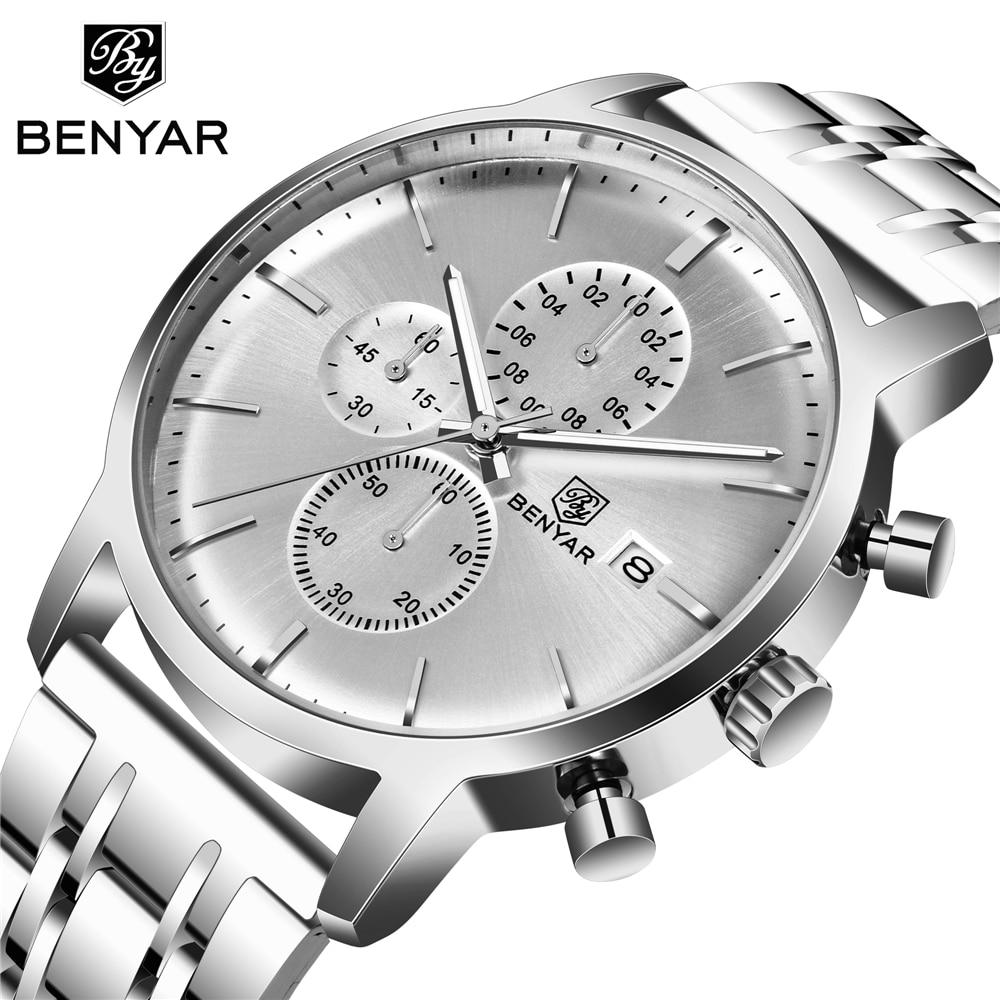 BENYAR Men's Watches Casual Fashion Waterproof Watch Men Top Brand 2019 New Luxury Quartz Chronograph Wristwatch Zegarek Meski