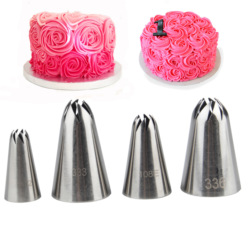 Cake Decorating Nozzle Set : 4pcs Spiral Rose Nozzles For Cake Decorating set