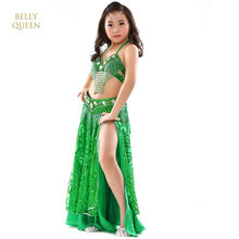 New Children Belly Dancing Costume Kids Indian Dance Dress 3 Pcs Bollywood Dance Costumes For Girls Performance Dancing Sets(China)