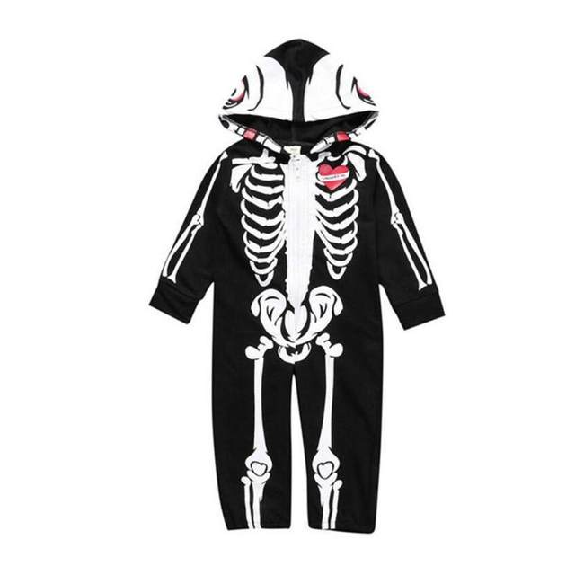 baby halloween costumes for kids skull skeleton baby rompers hooded newborn clothes for boys girls jumpsuit toddler clothing a2