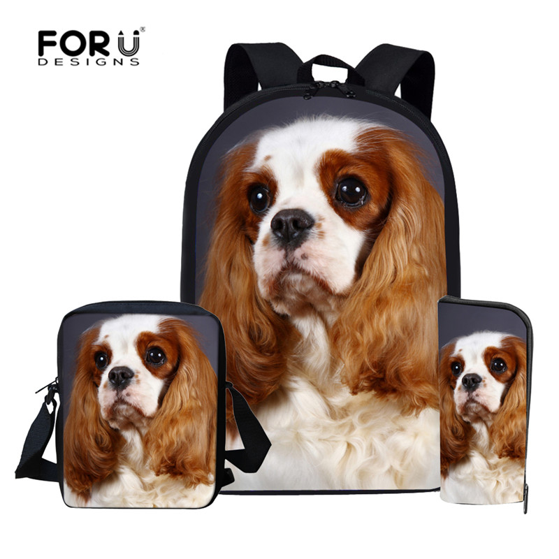 FORUDESIGNS Children School Bags Set Cavalier King Charles Spaniel Dog Backpack For Girls Boys Kid Book Bag Mochila Escolar