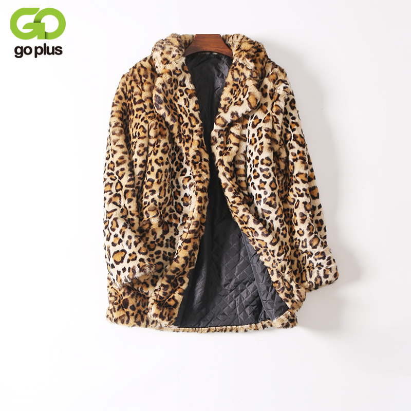 GOPLUS Europe Fashion Women Long Faux Fur Leopard Coat Women Artificial Fur Jacket Women Fur Coats