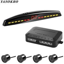 YASOKRO, автомобильный СВЕТОДИОДНЫЙ парковочный датчик, автомобильный детектор, Парктроник, дисплей, обратный резервный радар, монитор, система с 4 датчиками s