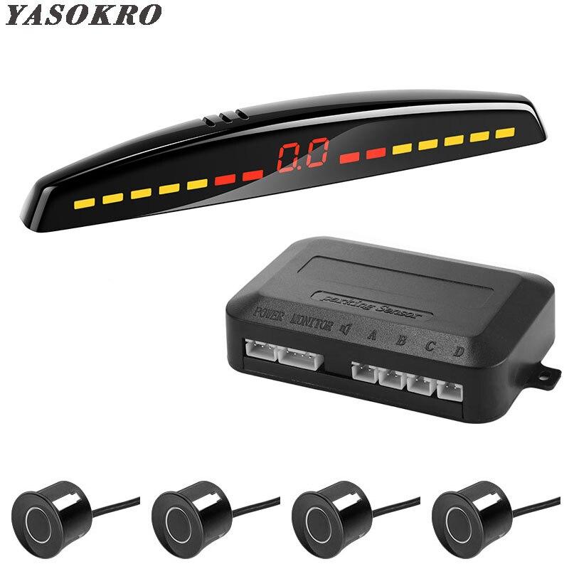 YASOKRO araba Led park sensörü otomatik araba dedektörü parktronik ekran geri park etme radarı monitör sistemi 4 sensörleri ile