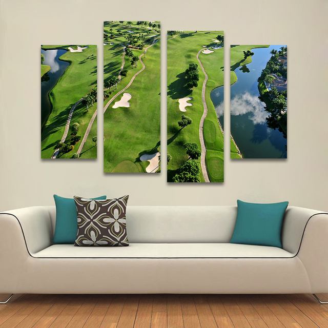 QKART 4 Pieces Golf Course Home Decor Landscape Painting Canvas Art Wall  Pictures For Living Room