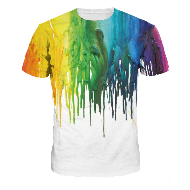 81c8d715ec1 New Summer 3D T Shirt Rainbow Drips Print T-shirts Women Short Sleeve  Fashion Tops   Tees Camiseta