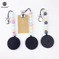 Silicone Teething 3pc Pacifier Clip Metal Pacifier Holder Cookies Silicone Teether Baby Teething Toys Silicone Colorful