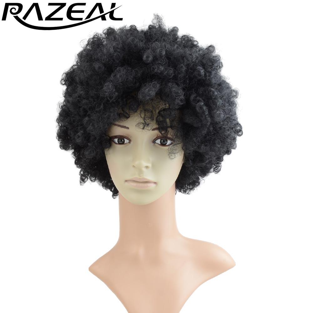 Razeal Natural Black Syntetisk Afro Wig Kinky Curly Korta Paryk Afroamerikan Värmebeständig Fiber