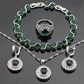 Criado verde Esmeralda CZ Branco Brincos Anéis Conjuntos de Jóias Para As Mulheres Pulseiras de Cor Prata Colar de Pingente de Caixa de Presente Livre