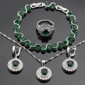 Green Created Emerald  White CZ Silver Color Jewelry Sets  For Women Bracelets Earrings Rings Necklace Pendant Free Gift Box