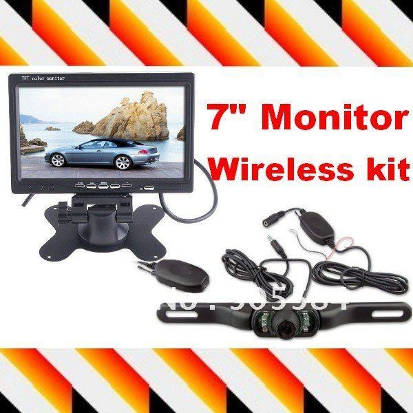 "7"" Dashboard Backup Color TFT LCD Car Monitor Rearview + Night vision wireless car reverse camera Transmitter & Receiver kit"