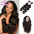 360 Lace Frontal Closure With Bundles Peruvian Virgin Hair Body Wave 2 Bundles With Closure Wet And Wavy Human Hair With Closure