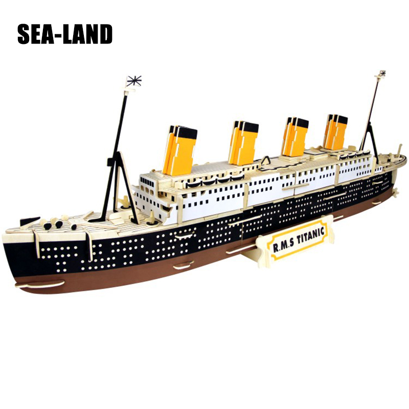 Montessori 3D Wood Puzzle Toys Titanic Model Children Puzzle Educational Interactive Toy For Family A Hobby Gift For Children цена