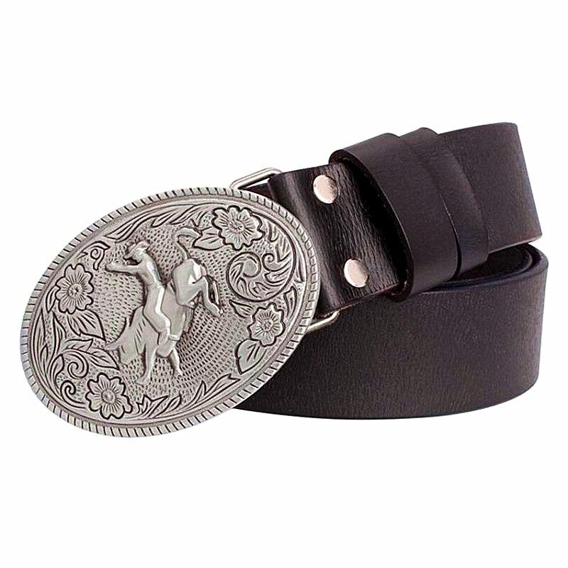 ec11fb5ae0 2018 moda cowskin cinturón de cuero hombres cowboy Bull riding metal  hebilla de cinturón occidental vaquero