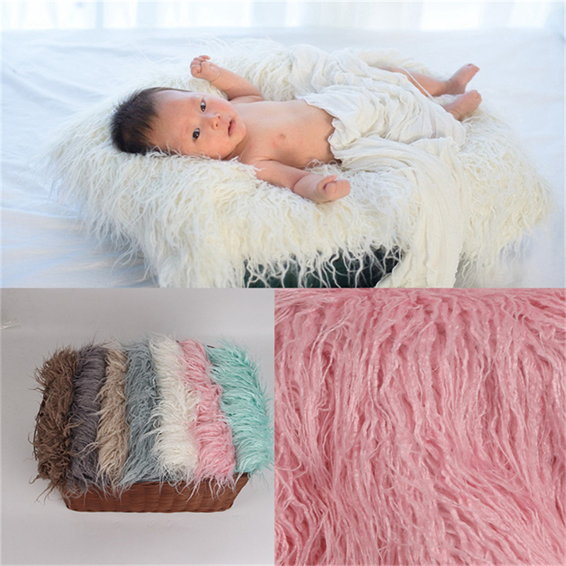 Faux Fur Photography Photo Prop Baby Newborn Wool Blanket Background Backdrop Rug Solid Photo Prop Background For Kids Baby Rug