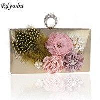 Rdywbu Elegant Designer Handmade Evening Bag Flowers Beaded Finger Ring Clutches Purse Feather Wedding Party Shoulder Bag B387
