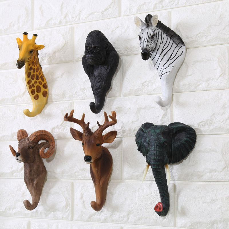 Creative Decorative Hooks Retro Cafe Bar Wall Shop Hanging In Deer Head Animal Stereo Decorative Hook