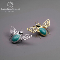 Lotus Fun Moment Real 925 Sterling Silver Natural Handmade Fashion Jewelry Cute Hollow Out Honeybee Design Brooches for Women