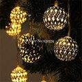 Movido A Energia Solar 5 M 20 LED Prata Bola Luzes Cordas de Fadas Para Festa de Natal Do Casamento Do Jardim Do Pátio Ao Ar Livre Indoor Decoração