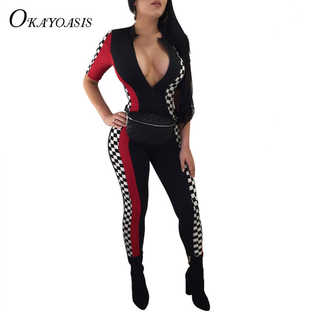 2018 Sexy Jumpsuits Color Block Checkerboard Motor Spandex Overalls