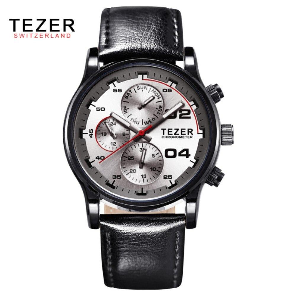 2016 TEZER Luxury Brand Men Watches Male Fashion Casual Quartz Watch Leather Strap Men Sports Wristwatch