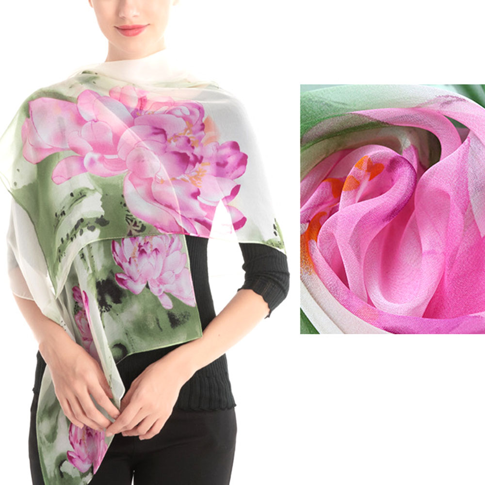 Spring And Autumn Women Floral Lotus Printing Long Silk Scarf Femme Silk Scarves Soft Wrap Scarf Ladies Fashion Shawl Veil