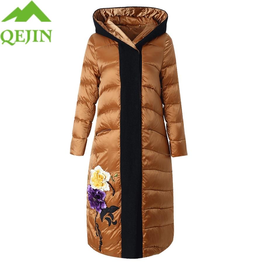 winter jacket white duck   down     coat   women jacket warm parkas embroidery flower long sleeve hat hooded puffer jacket outerwear