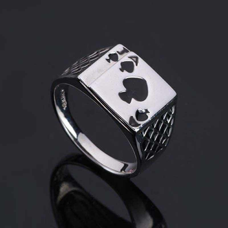 Silver Rings Ring Color Index Women Middle Steel Playing LNRRABC  Sale Wide Jewelry Design Finger Titanium Cards Alloy