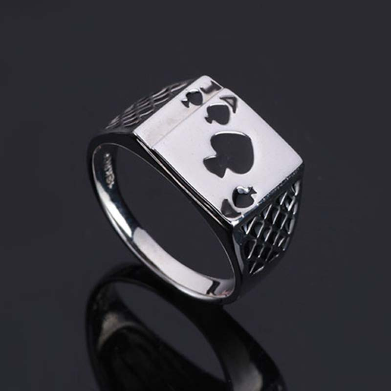 Lnrrabc Women Index Finger Rings Silver Color Playing Cards Design
