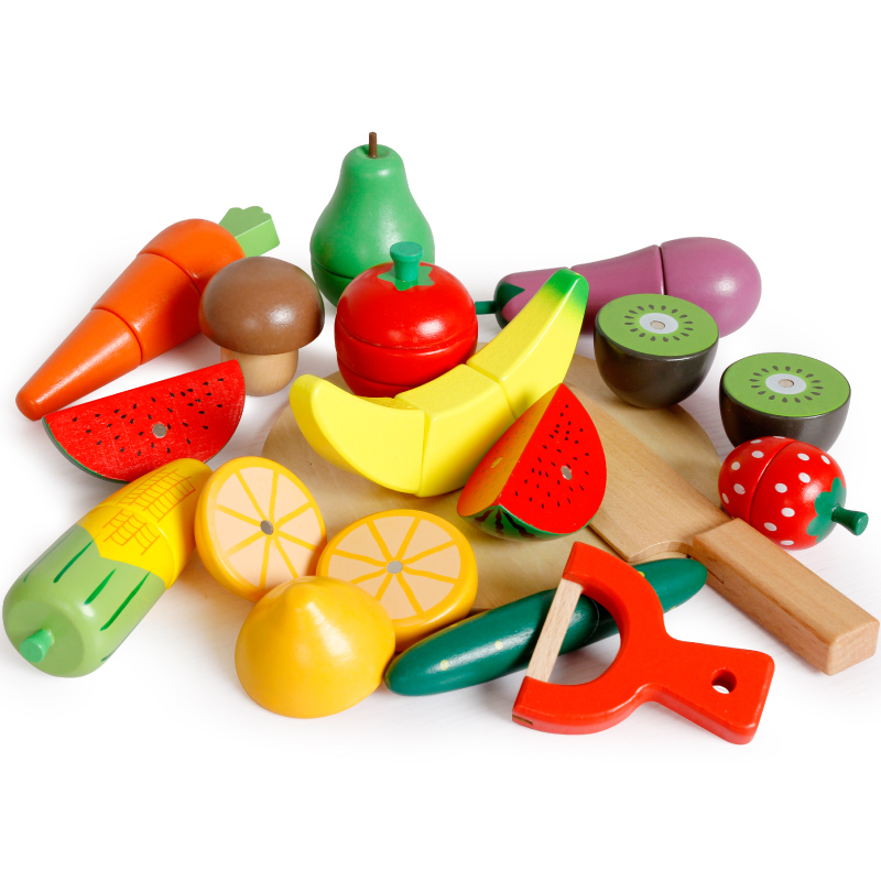 Pretend Toy Children Wood Fruits and Vegetables Magnetic Toys Gift Cutting Fruit Creature Blocks Model Kit new colorful wooden vegetables combination kitchen toys for pretend play wood building blocks children educational kids toy gift