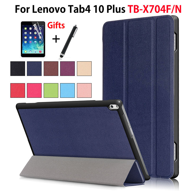Case For Lenovo TAB4 Tab 4 10 Plus TB-X704L Cases 10.1 TB-X704F TB-X704N Smart Cover Funda Tablet PU Leather Shell +Film+Pen high quality folio pu leather case cover for lenovo tab 4 10 plus tb x704f x704n 10 1 inch tablet stylus film