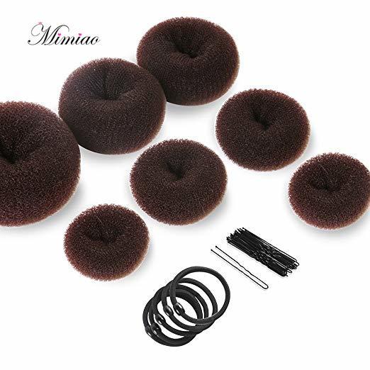 Cute Donut Hair Bun 7 pcs Maker Set Makers (1 extra-large, 2 large medium and small) 5 Elastic Bands