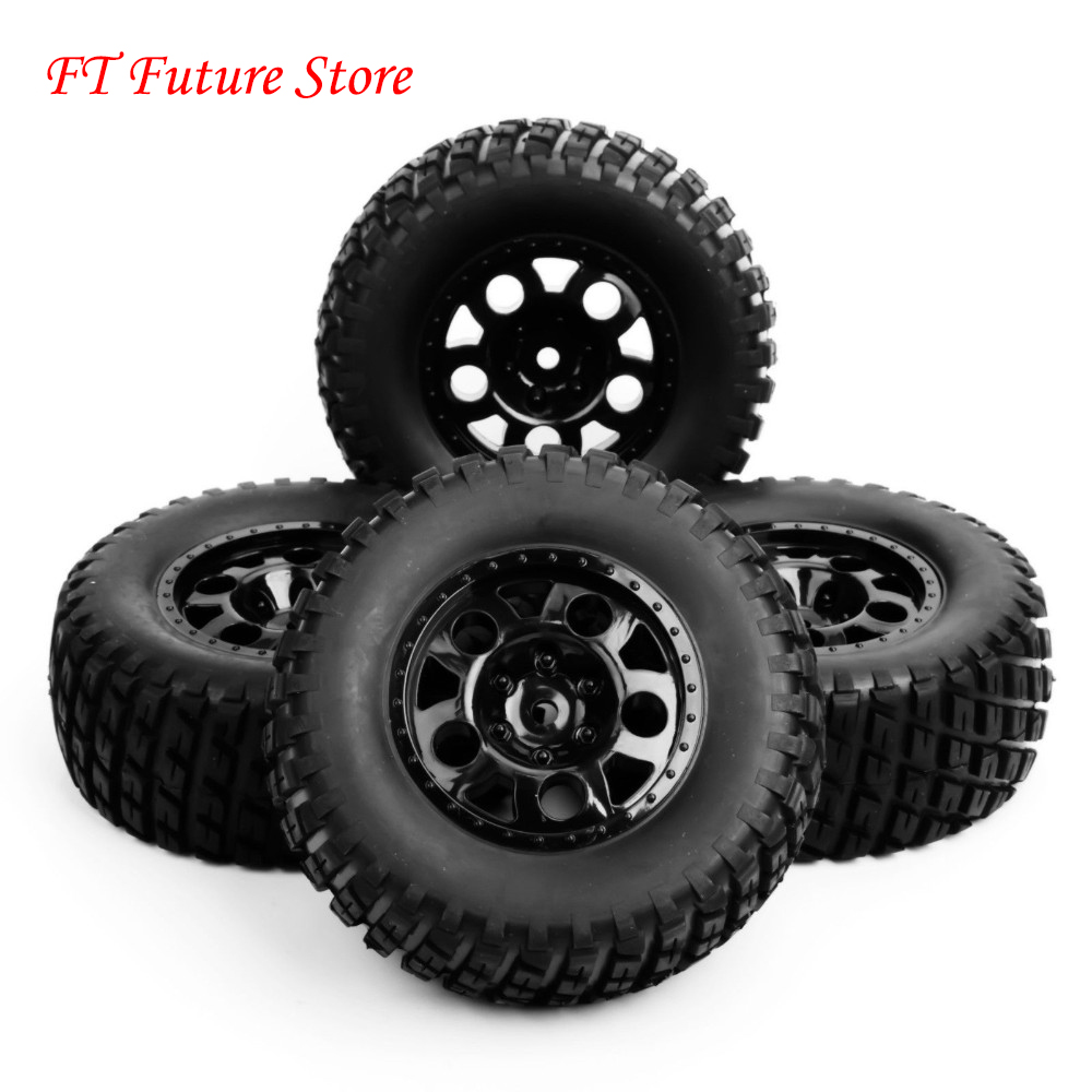 1/10 Scale RC Short Course Truck Tire & Wheel For Car Model 4pc Set Accessory