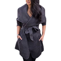 Winter Wool Trench Coat For Women Turn Down Collar Long Sleeve Coat Thick Warm Overcoat Belted