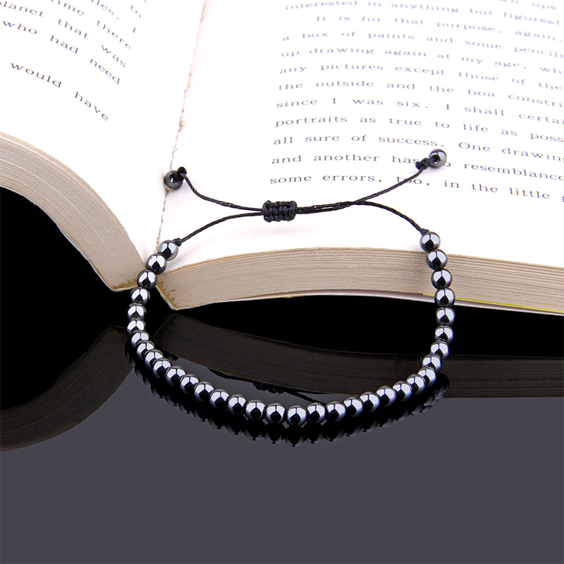 Adjustable round Hematite Bracelets Minimalist Men's Fashion Beads Braclet For Women men Biker Hand Jewelry Pulseira Masculina