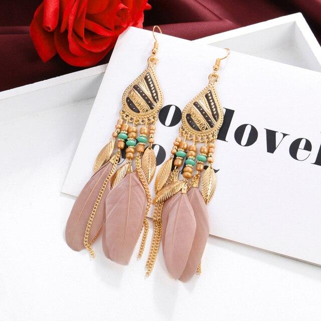 ZOSHI Bohemian Tassel Earrings for Women Dangle Long Earrings Feather Boho Drop Earrings Seed Beads Vintage Jewelry Brincos 4